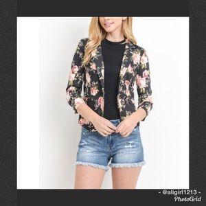 Jackets & Blazers - SALE - Floral Cropped Blazer
